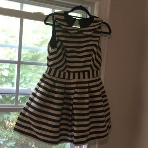 Asos petite black and white stripe dress size 10..